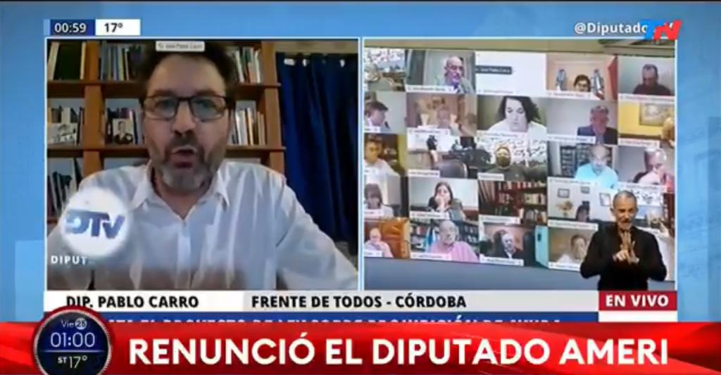 Tras escándalo sexual en plena sesión, renuncia diputado argentino Juan Emilio Ameri