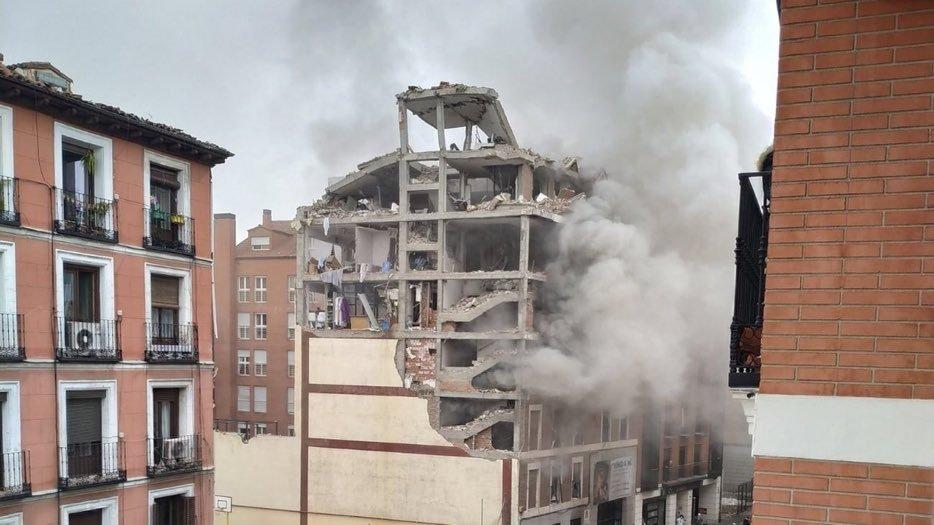 Madrid: Las imágenes que dejó la destructiva explosión en un edificio del centro de la ciudad