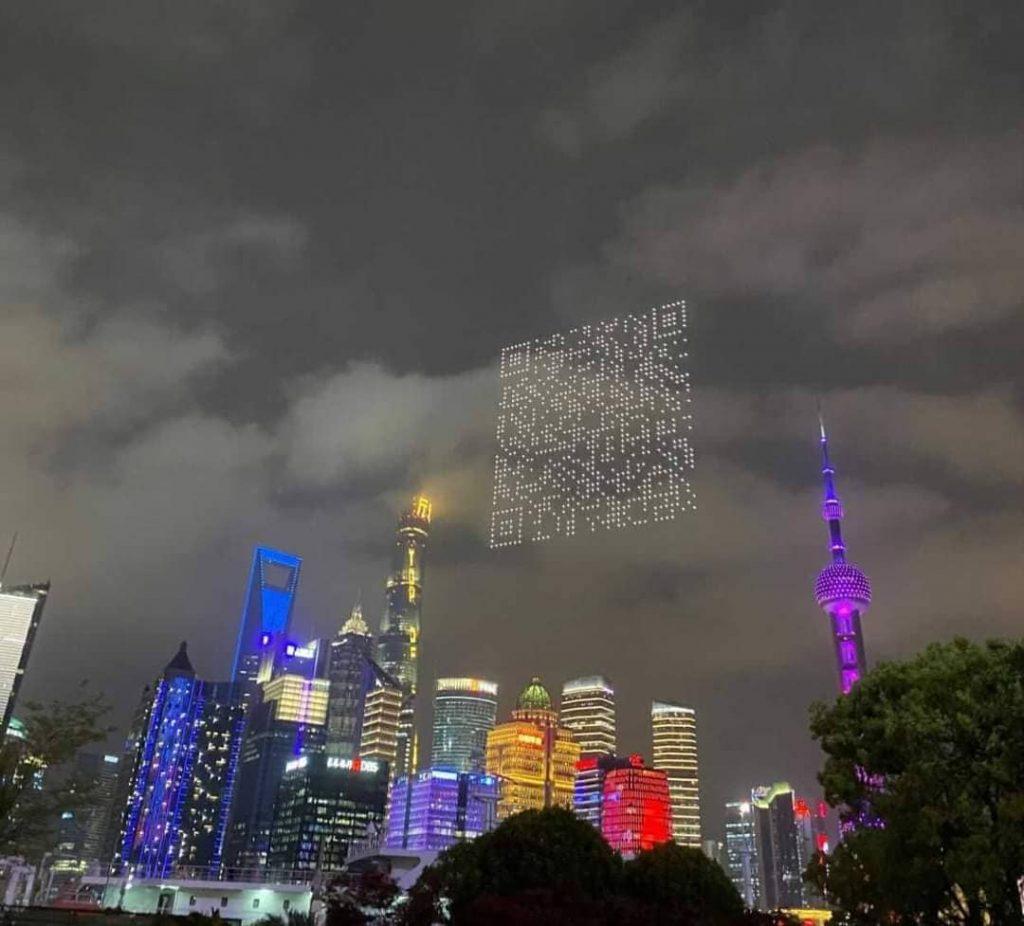 VIDEO | Shanghái: Drones proyectan código QR gigante para la descarga de videojuego