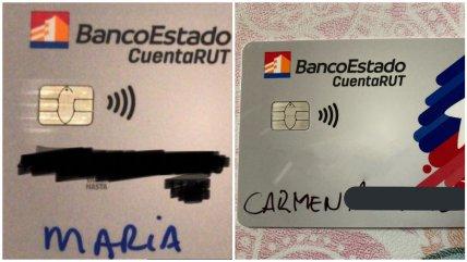 Ofician al BancoEstado por tarjetas CuentaRUT escritas con plumón
