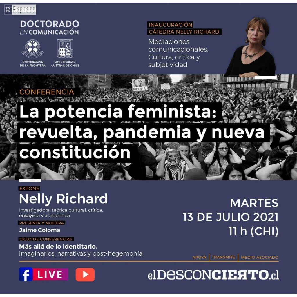Inauguran cátedra Nelly Richard con conferencia sobre feminismo, revuelta y nueva Constitución